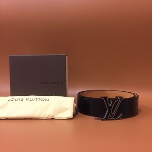 Louis Vuitton Black Epi Leather Lv Inlay Belt